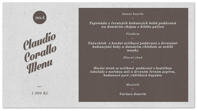 Claudio Corallo menu