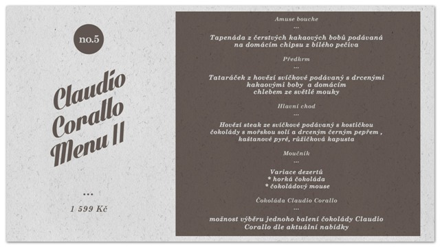 Claudio Corallo II menu